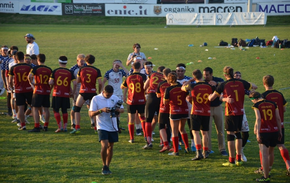 Belgium congratulating USA after the IQA World Cup Final